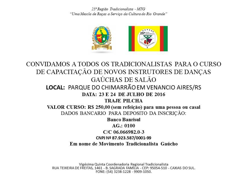 CONVITE CURSO DE INSTRUTORES DE DANÇAS GAUCHAS DE SALÃO