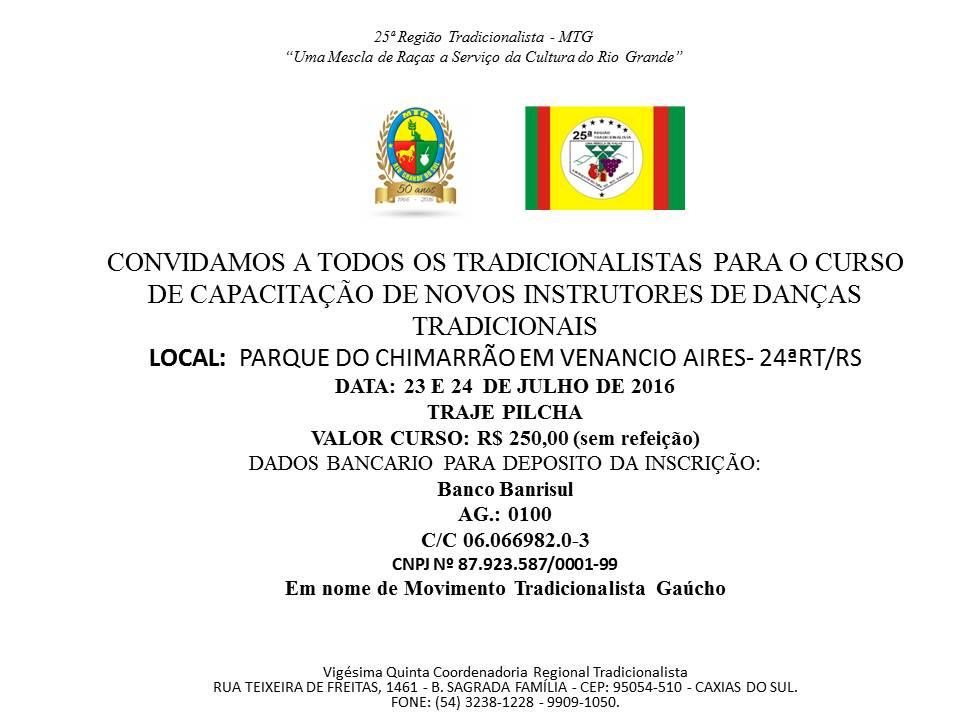 CONVITE CURSO DE INSTRUTORES DE DANÇAS TRADICIONAIS