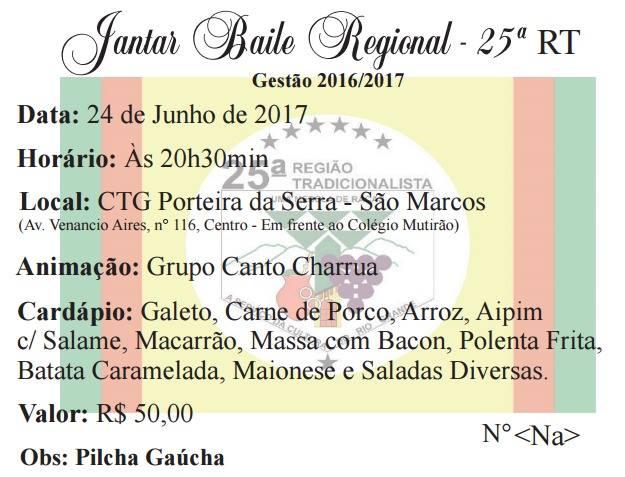 Jantar baile Regional nomeia prendas e peões gestão 2017/2018